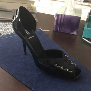 FENDI black patent leather corseted heels